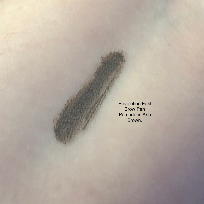 Revolution Fast Brow Pen Pomade Swatch in Ash Brown